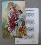 イタリア プラ箔押しカード RCC 64 ラファエル 8.3×5.5センチ 裏面英語祈り
