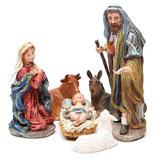 イタリア マルチカラーのゴールドレジン、6体のフィギュア30cmにセットされた完全なキリスト降誕