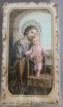 イタリア ご絵 VINCH San Giusepp con Bambino e giglio 16 12.2×6.7センチ 大判飾り縁 箔押しエンボス加工 紙裏白
