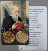 イタリア プラ箔押しカード RCC 180  聖ベネディクト  8.3×5.5センチ 裏面英語祈り
