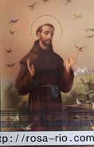 ご絵 手判 アッシジの聖フランシスコA C-41 14×9センチ 紙裏白