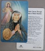 イタリア プラ箔押しカード RCC 127 聖フォスティーナ 8.3×5.5センチ 裏面英語祈り