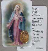 イタリア プラ箔押しカード RCC 53  8.3×5.5センチ 裏面英語祈り