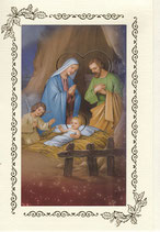 イタリア製 クリスマスカード 定型 聖家族と天使c-1 180-9