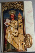 イタリア プラカード 聖バルバラ 8×5.5センチ 裏祈り英語
