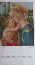 ご絵 絵画 THE  VIRGIN AND THE INFANT JEAUA A-23 10.5×6センチ 紙裏白