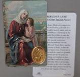 イタリア プラ箔押しカード RCC 71 聖アンとマリア  8.3×5.5センチ 裏面英語祈り