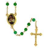 ファティマ35 聖ドロシーのロザリオ  Devotional rosaries Santa Dorothy rosary with green glass beads 6 mm - Faith Collection 35/47