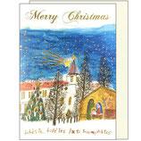 女子パウロ会 23217 クリスマスカード 多治見修道院と馬小屋