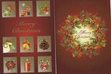 クリスマスカード2×2枚セット  リース&小窓 日本語
