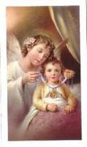 イタリア ご絵 天使と幼子 1625 10×6センチ 紙裏白
