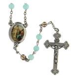 ファティマ47 世の光のロザリオ Devotional rosaries Rosary of the Word light blue glass beads 6 mm - Faith Collection 13/47