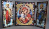 イコン 3面たて 小 見開き12.5×7,5㎝ 花と聖母子