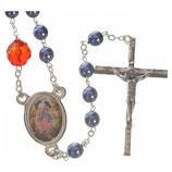 イタリア 結び目を解く聖母 ロザリオメタルブルー