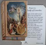 イタリア プラ箔押しカード GENOA聖書型 6 ルルド 8.5×5.5センチ 裏面英語祈り