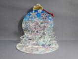 封筒つき立体クリスマスカード 雪の結晶 S014