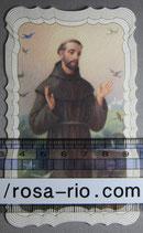聖人御絵 アッシジの聖フランシスコ 厚紙飾り枠11.5×6.5