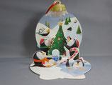 封筒つき立体クリスマスカード ペンギンたち S067