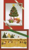 クリスマスカード2×2枚セット  ツリープレゼント&ウォール 日本語