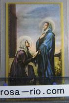イタリア パウチご絵  箔 聖エリザベスと聖母マリア 11×7センチ
