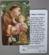 イタリア プラ箔押しカード RCC 11 聖アントニオ  8.3×5.5センチ 裏面英語祈り