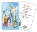 イタリア Our Lady of Lourdes-メダル付き積層祈りカード 7905