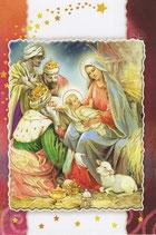 イタリア製 クリスマスカード 定型 聖家族と三賢人 220-19