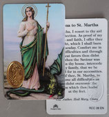 イタリア プラ箔押しカード RCC 28 聖マルタ 8.3×5.5センチ 裏面英語祈り