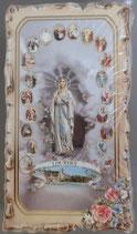 イタリア ご絵 VINCH Luurdes con Rosario 07 12.2×6.7センチ 大判飾り縁 箔押しエンボス加工 紙裏白