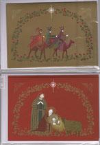 クリスマスカード2×2枚セット 10017 聖家族&三賢人 日本語