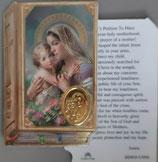 イタリア プラ箔押しカード GENOA聖書型 5 聖母子 8.5×5.5センチ 裏面英語祈り