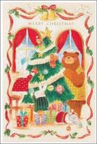クリスマスカード(封筒付き)  クリスマスカード S300-68(聖句シール付き) 聖句シール入り(聖書箇所:ルカ2:11、ルカ2:14)(59279) いのちのことば社・オリーブス