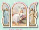 イタリア FB 572-85R 卓上3面見開きたて小 洗礼女の子ピンク 天使 6×見開き9センチ