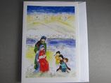 東京カルメル会 クリスマスカード 定型 聖家族と子供達