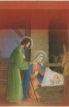 イタリア製 クリスマスカード 定型 聖家族レッド 361 180-2