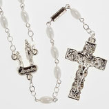 イタリア HL RG 2048 ギレリロザリオホワイトルルドオーバルグレイン6x4 Ghirelli rosary Lourdes, white oval beads 6x4mm