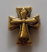 ロザリオ製作用 クロス珠 ゴールドー色クロス 210726-4 合金 サイズ: 7ミリメートル、穴は1.5ミリメートル
