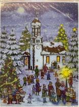 NIK436  アドベントカレンダー 雪の教会 35×26.5センチ ドイツ製
