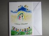 東京カルメル会クリスマスカード定型 聖母子メリークリスマス