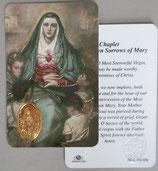 イタリア プラ箔押しカード RCC 150 聖母7つの痛み 8.3×5.5センチ 裏面英語祈り