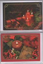 クリスマスカード2×2枚セット  聖書&ろうそく 日本語