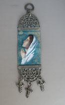 欧州 布製刺繍壁掛け 聖母C 19.5×5センチ  1912-22