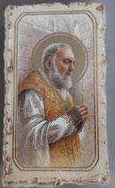 イタリア ご絵 VINCH Padre Pio 23 12.2×6.7センチ 大判飾り縁 箔押しエンボス加工 紙裏白