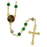 ファティマ39 わたしたちの父ロザリオ Devotional rosaries Our Father rosary with green glass beads 6 mm - Faith Collection 39/47