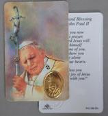 イタリア プラ箔押しカード RCC 092 聖ヨハネパウロ二世  8.3×5.5センチ 裏面英語祈り