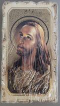 イタリア ご絵 VINCH Head of Christ  03 12.2×6.7センチ 大判飾り縁 箔押しエンボス加工 紙裏白