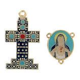 イタリア RO019150 ロザリオセンターメダイ&クロスセット みこころの聖母