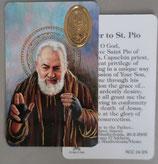 イタリア プラ箔押しカード RCC 24 聖ピオ 8.3×5.5センチ 裏面英語祈り