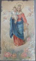 イタリア ご絵 Eucaristina ロザリオの聖母子 004 10.7×6センチ 飾り縁箔押し 紙裏白
