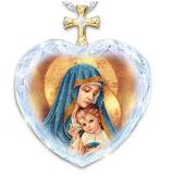 クリスタルペンダント ハートクロス 聖母子